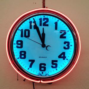 Brubaker double neon clock midcenturysanjose