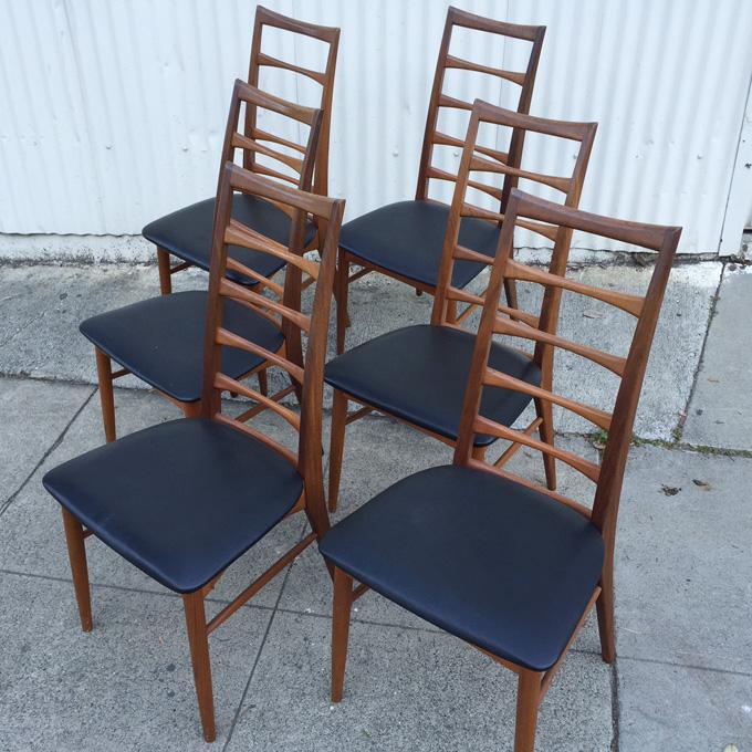 Koefoeds Hornslet teak dining chairs at midcenturysanjose