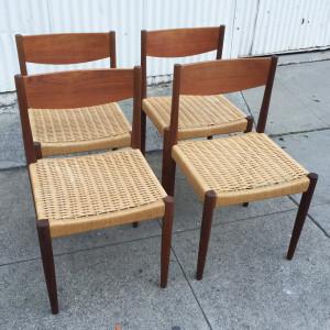 Four Frem Rojle teak dining chairs midcenturysanjose
