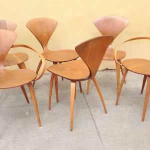 Six Cherner plywood chairs by Plycraft