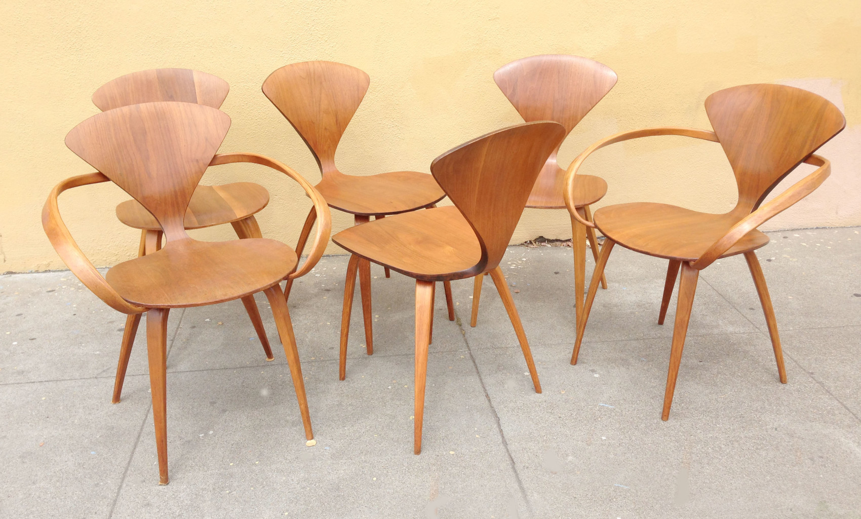 Six Cherner plywood chairs by Plycraft & Six Cherner Plywood Chairs by Plycraft - SOLD - midcenturysanjose
