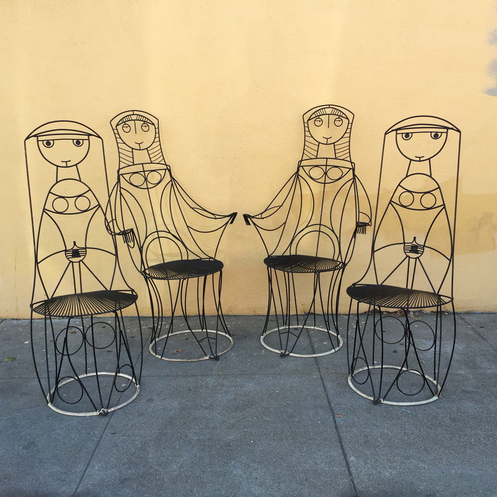 Four John Risley Wire Chairs Sold Midcenturysanjose