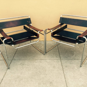 Pair of Breuer Wassily lounge chairs