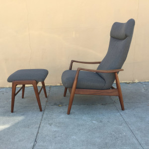 Danish mid century recliner attributed to Ib Kofod Larsen